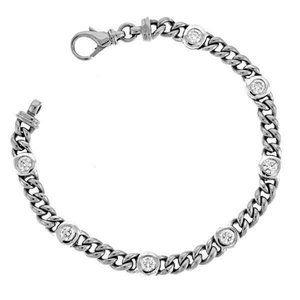 2.45 Carats Bezel Set Round Diamond Link Bracelet